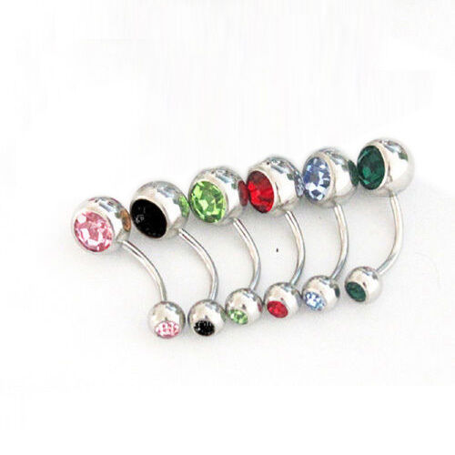 Wholesale Cool 12pcs Double Gem Ball Crystal Belly Bars Navel Ring Jewelry Good