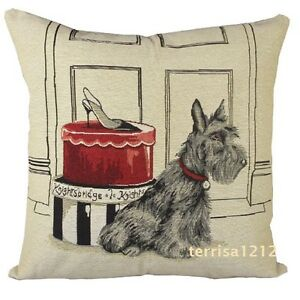 Retro Scottish Terrier Dog Pet Shoe Box Knitted Pillow