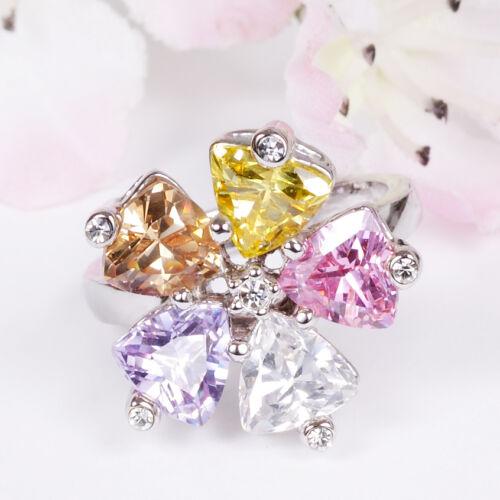 circonita pedrería amarillo Anillo flor rosa marrón púrpura + bolsa de joyería acero inoxidable plata