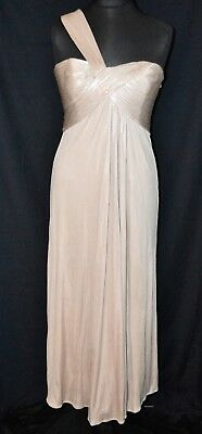 Evening dress Grecian style bodice top Ballgown Bridesmaid prom party blue chiffon over satin evening dress uk size14  usa size-10 SALE