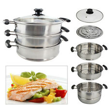3 TIER 28cm STAINLESS STEEL FOOD STEAMER COOKER POT SET GLASS LIDS PAN COOKING