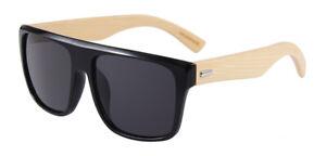 Sonnenbrille aus 100% Bambus Holz Trendy Herren Damen Unisex Schwarz Sunglasses