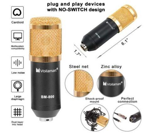 Voilamart BM800 Condenser Microphone for Studio Broadcasting Recording