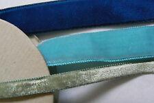 Lot of 3 spools 17 Yards Silk Swiss & French Rayon Velvet Ribbon Trim Satin Back