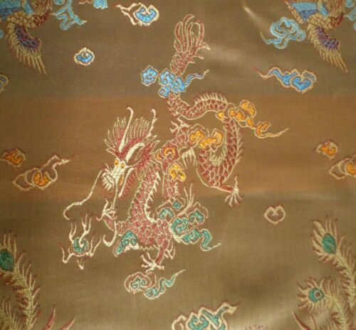 Gold Dragon Chinois Oriental Brocade shiny satin soyeux 90 cm large