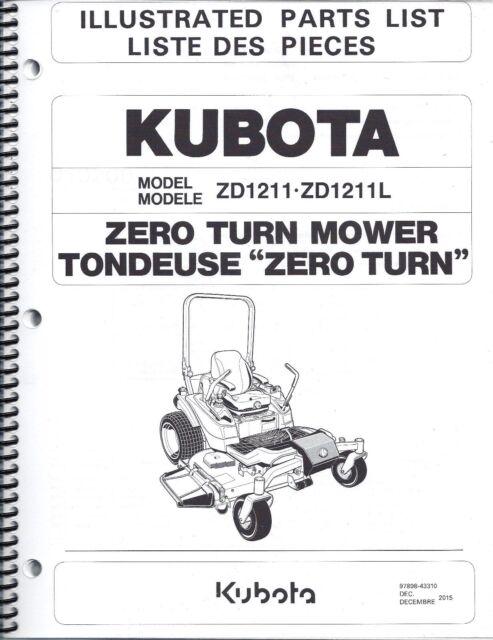 Kubota Zd1211 Zd1211l Zero Turn Mower Illustrated Parts