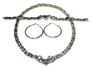 Silver-I-LOVE-YOU-Hugs-and-Kisses-Necklace-Bracelet-and-hoops-Earrings-Set-XO