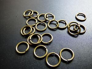 100x Spaltringe Schmuck Bastel Antik Bronze 8mm 1mm dick