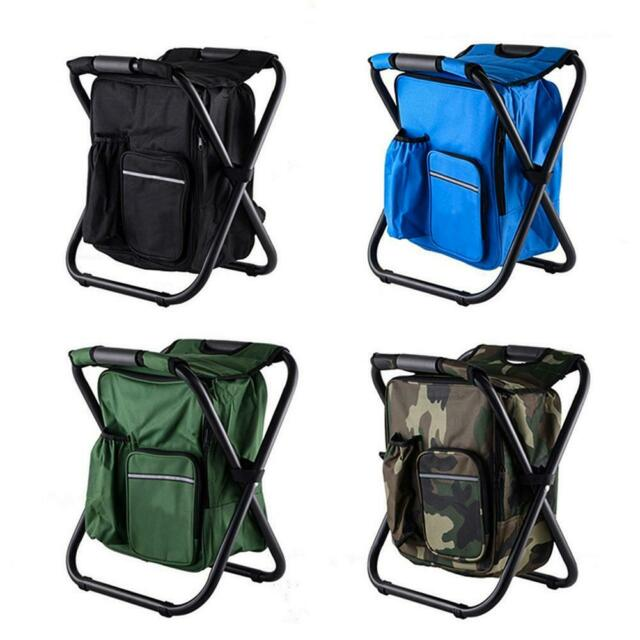 Outdoor Folding Camping Fishing Chair Stool Portable Picnic Backpack Seat Bag