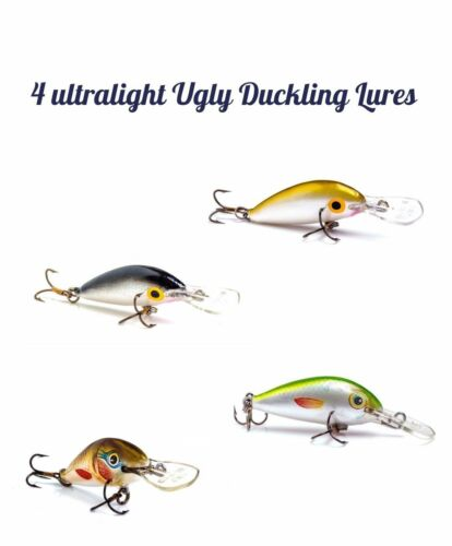 Lot of 4 Ugly Duckliing Lures Small Crankbait Great for Crappie Perch Panfish