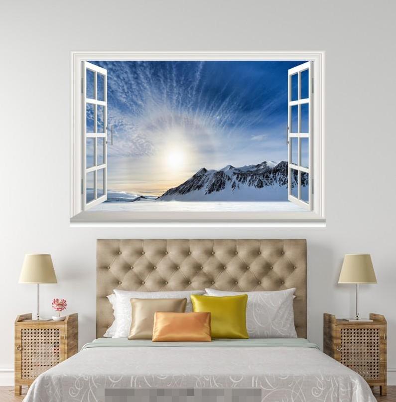 3D Sunlight Snow Road 118 Open Windows WallPaper Murals Wall Print AJ Carly