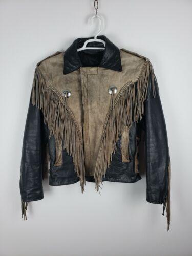 Unik Fringed Men's Leather Jacket Sz 44
