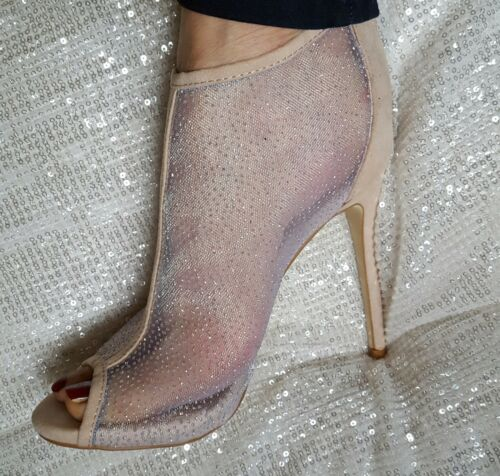 Nude Sparkly Mesh Slim Heel Ankle Boots Size UK  2 3 4 5 6 7 8 EU 35-41