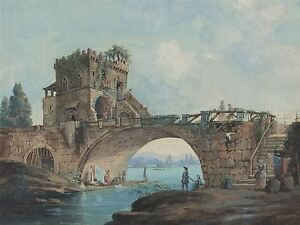 HUBERT-ROBERT-PONTE-SALARIO-LAUNDRESSES-OLD-ART-PAINTING-POSTER-PRINT-BB5719A