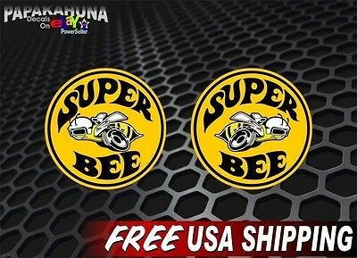 "2 SUPER BEE 9/"" Round Dodge Vinyl Decals 1968-1971 Vintage FULL COLOR Stickers"