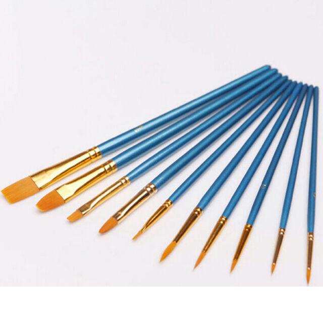 Nylon Hair Paint Brush Set Artist Watercolor Acrylic Oil Painting Supplies 10pcs