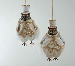 Katherines Collection Thread Of Gold Owl Christmas Ornaments 18