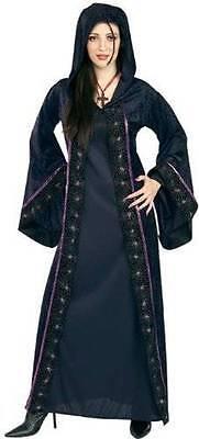 NWT SPIDER MISTRESS WOMENS COSTUME SIZE STD TO 12 VELVET HOODED DRESS HALLOWEEN