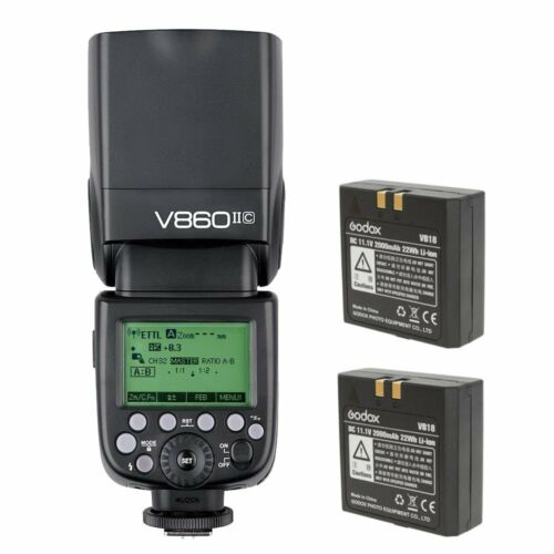 Godox V860IIC 2.4G ETTL HSS Camrea Flash Speedlite + 2X VB18 Battery For Canon