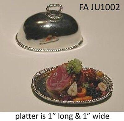 ROAST TURKEY ON PLATTER Heirloom Quality DOLLHOUSE MINIATURES 1:12 SCALE