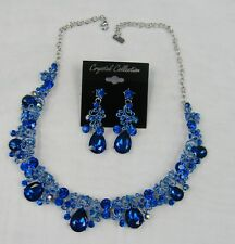 Royal Blue Rhinestone Crystal Statement Necklace Set Prom Pageant Dance # 17064