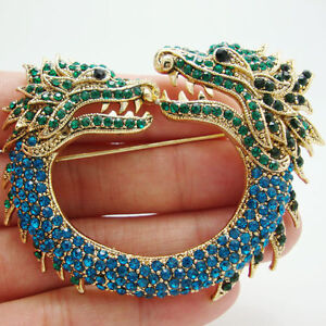 Nouveau style vintage Dragon Animal Broche Pin Multi-couleur strass cristal
