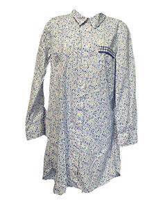 victoria's secret blue floral button up long sleeve Sleep night shirt Size M