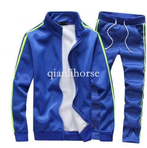 HOT Mens Running Sports Suits Zippered Coat Pants Tracksuit Sweatsuit Plus size