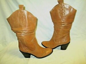 BCBGeneration Brown Leather Western Chunky Heel Boots Size 6B