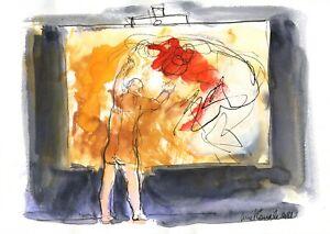 """""""Maître Frenhofer et le chef d'oeuvre inconnu"""",  watercolor 21 cm x 29,7 cm"""