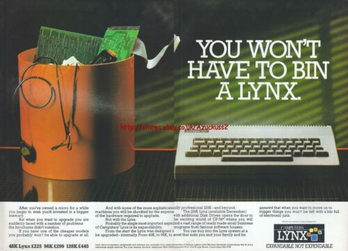 """Lynx Camputer /""""Vintage Computers/"""" 1983 Magazine Double Page Advert #5136"""