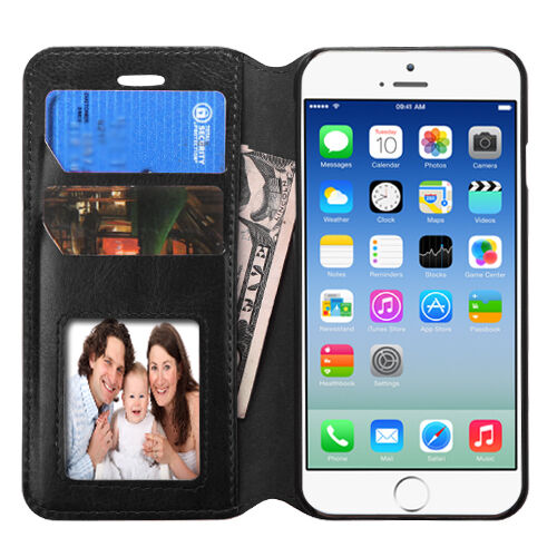 """For Apple Iphone 6 6s 4.7"""" PU Leather Credit Card Holder Wallet Case Cover"""