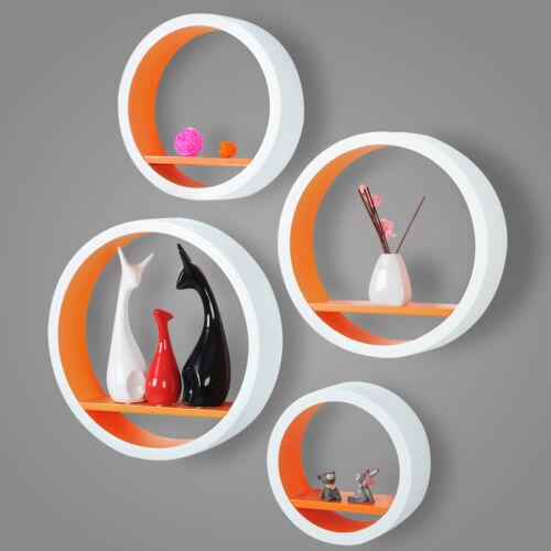 Wandregal Bücherregal MDF Dekoregal 4er Set Rund CD Regal Weiß-Orange RG9231or