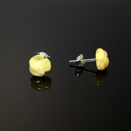 Details about  /Natural Baltic Amber Yellow Rose Shaped Stud Earnings Beautiful Perfect Gift