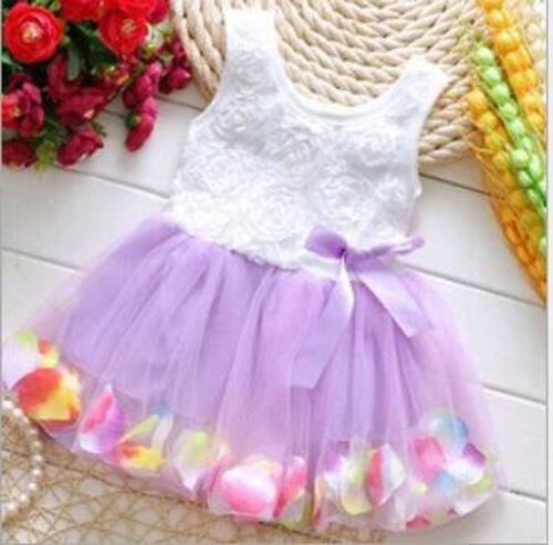 Bébé Enfants Filles Princess Party Tutu Dentelle Noeud Fleur Robes