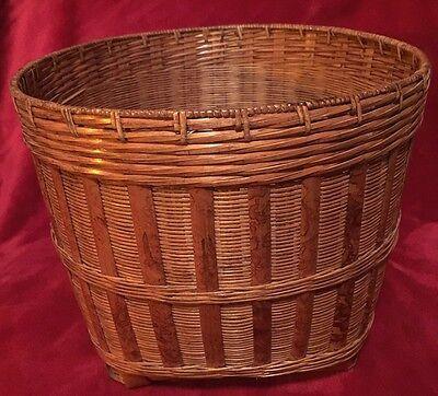 Vtg Rattan Wicker Bushel Waste Hamper Basket Round Large 15 Diameter Ebay