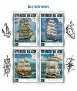 Niger - 2017 Tall Ships on Stamps - 4 Stamp Sheet - NIG17414a