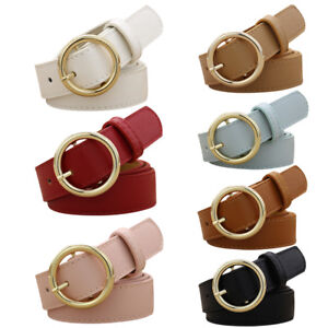 New-Fashion-Alloy-Circular-Buckle-Waist-Belt-Womens-Vintage-PU-Waistband