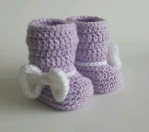 Newborn Baby Girl Boot Style Booties Crochet Infant Shoes photo prop Gift