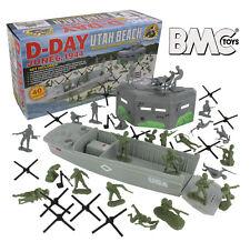 BMC WW2 D-DAY Plastic Army Men UTAH BEACH 40pc Soldier Figure 1:32 54mm Playset