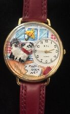 WYL Fashion Watch Rainy Day Dog Umbrella Wristwatch Red Round Whimsical