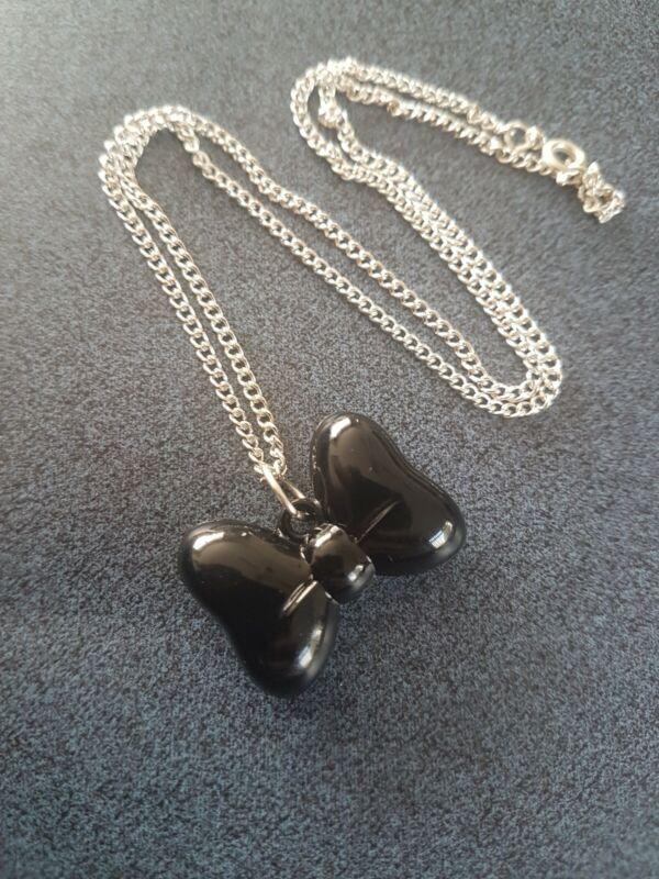 "Large Black Bow Necklace Handmade 18"" Silver Plated Chain Prettygirlydisney"