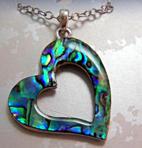 PAUA Shell abalone Nature/'s 1 Free Heart w// cut out Pendant Wheeler Mfg WMP 188