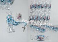 18pc Baptism Candy Party Favors Blue Rosary Recuerdos De Bautizo Roario Bautismo