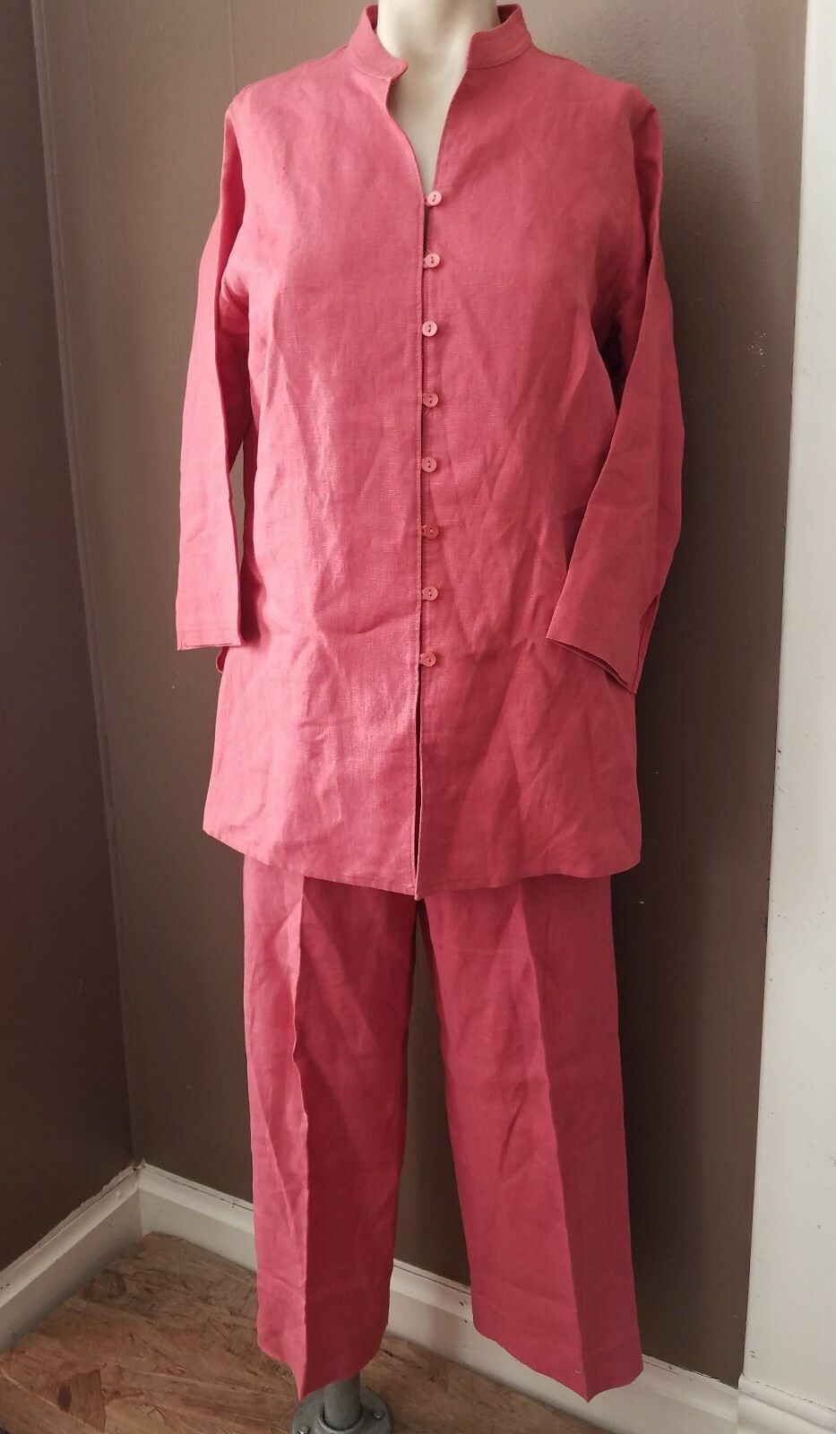Laura Ashley 2 Pc Linen Capri Pants & Shirt Set Asian Collar Size M 10