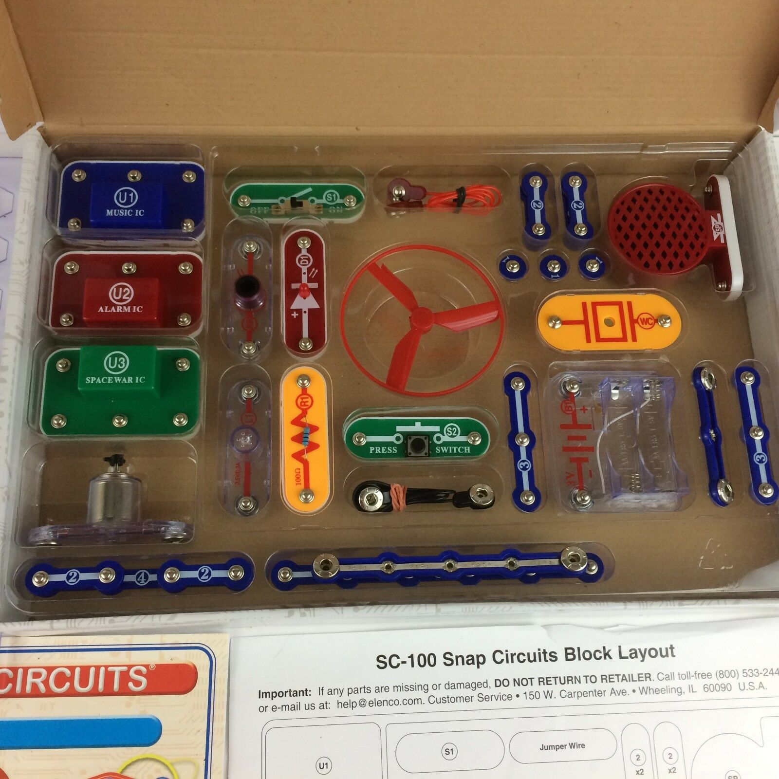 Elenco Snap Circuits Jr Sc 100 Electronics Discovery Kit 101 Experiments Hover To Zoom