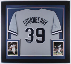 Darryl Strawberry Signed New York Yankees 31x35 Custom Framed Jersey ... ae2003fa7be