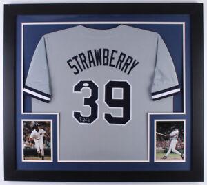 cheaper 6646e 4601a Details about Darryl Strawberry Signed New York Yankees 31x35 Custom Framed  Jersey (JSA COA)