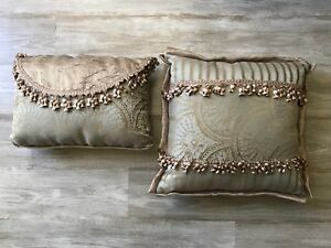 Set Of 2 Different Sized Sage Green Gold Throw Pillows Tassels Satin
