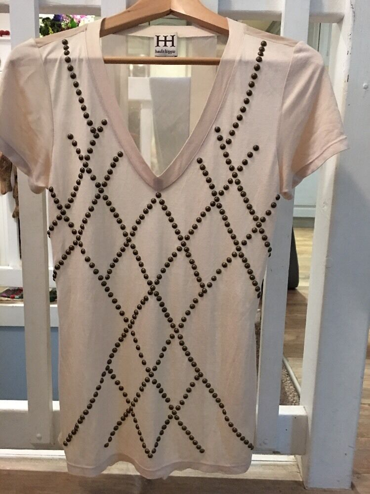 Haute Hippie Embellished V Neck Tee Flawless S